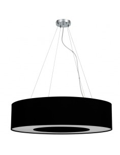Lámpara de Techo Colgante Textil redonda Negra Grande 80Cm para 4 Bombillas Diseño Moderno | LeonLeds