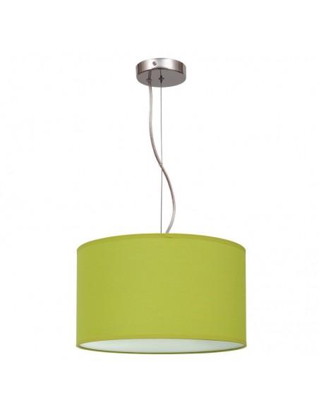 Lámpara de Techo colgante blanca color verde pistacho  serie nicole 1XE27 30Cm de diametro tela moderna | LeonLeds