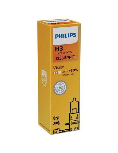 Bombillas h3 PK22S Philips Vision +30% de luz con cable 12336PRC1  | LeonLeds