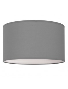 Plafón Lámpara de Techo Textil Redonda Gris 50Cm Tela Moderna 3XE27 | LeonLeds