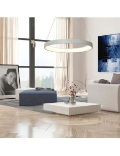 Lámpara Colgante LED Ø65cm 50w Redonda Blanca Metal Difusor Acrilico Diseño moderno Regulable Dimmable | LeonLeds