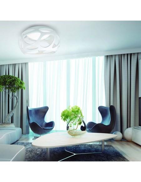 Plafon serie Orgánica 3XE27 Redondo Blanco Diseño moderno elegante diferente Lámpara 55Cm | LeonLeds