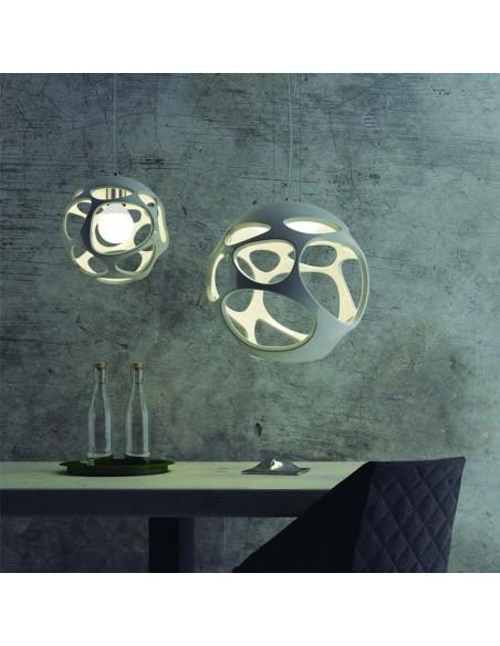 Lámpara de Techo Colgante de Suspensión Serie Organica Redonda 55Cm Blanca Cromo | LeonLeds
