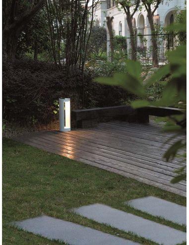 Baliza Exterior LED Dopo Nure 15w Luz Natural Blanca Aluminio Cristal Blanco IP65 | LeonLeds