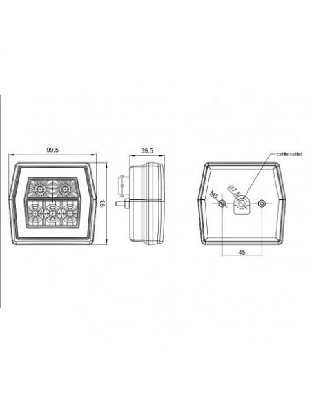 Dimensiones de Piloto trasero LED Fristom FT120 | LeonLeds Piloto Trasero LED con 3 funciones