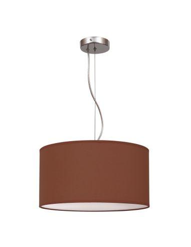 Lámpara de Techo Colgante Nicole Marrón Chocolate Wengue 40Cm Redonda Regulable en altura Textil Barata   LeonLeds