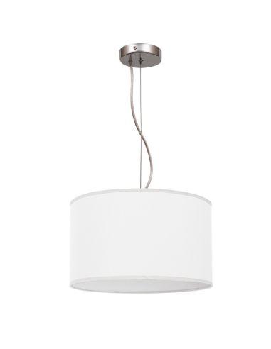 Lámpara de Techo Colgante Suspension Nicole Blanca Textil redonda Regulable en altura | LeonLeds