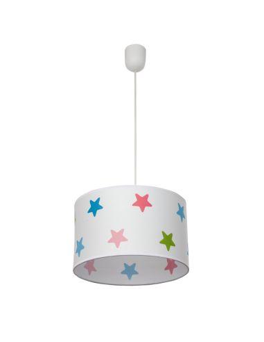 Lámpara de Techo Colgante Regulable en Altura Infantil Estrellas de Colores Diámetro 30Cm Azul Rosa Lila Verde 077293001 | LeonL