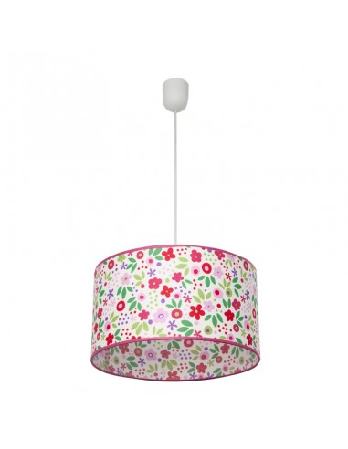 Lámpara de Techo Colgante de Suspensión Regulable en altura Grande serie Bosque con flores de colores textil redonda Infantil Ju
