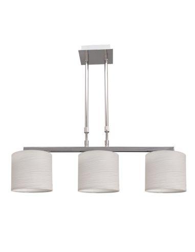 Lámpara de Techo 3 Pantallas regulable en altura cromo Blanco 3XE14 Colgante de Suspensión   LeonLeds