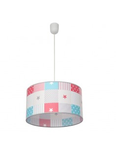 Lámpara de Techo Colgante redonda serie MIX de colores estrellas puntos rayas cuadrados textil | LeonLeds