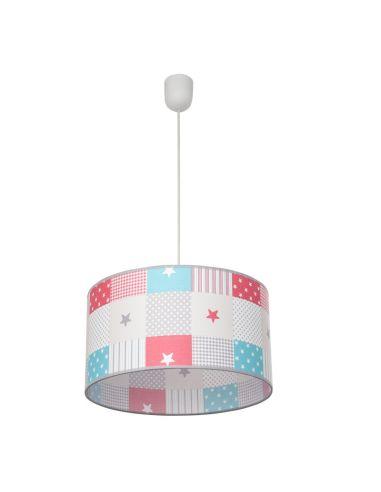 Lámpara de Techo Colgante redonda serie MIX de colores estrellas puntos rayas cuadrados textil   LeonLeds
