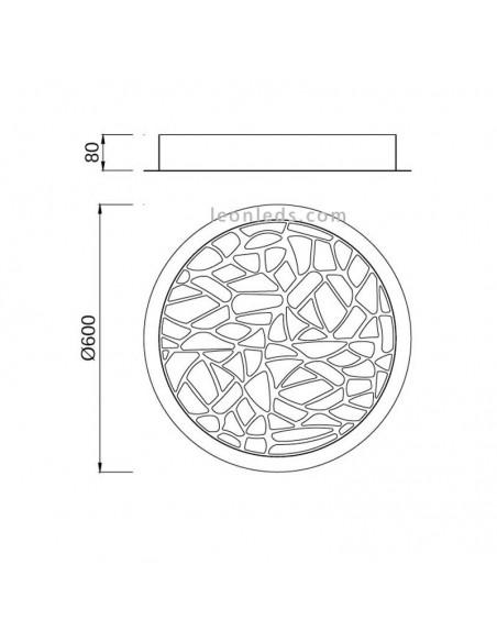 Plafón de Techo LED 47W Metalico Blanco Mate 3000K Mantra Serie Petaca 5512 | LeonLeds