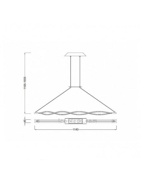 Lámpara de Techo Colgante Suspensión modelo Sahara 4864 Dimmable Regulable en Altura Intensidad Regulable suspendida LED 36W ele