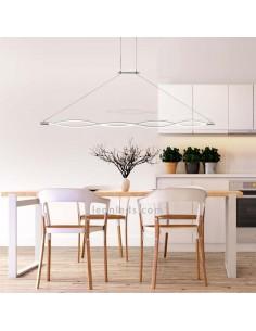 Lámpara de Techo Colgante Grande Sáhara 4865 42W Plata Cromo Altura Regulable Diseño Moderno | LeonLeds