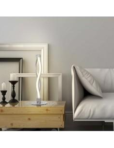 Lámpara Sobremesa LED 6W Sáhara 3000K 420Lm Plata Cromo Diseño moderno Actual Barata Doble base redonda 4862 | LeonLeds