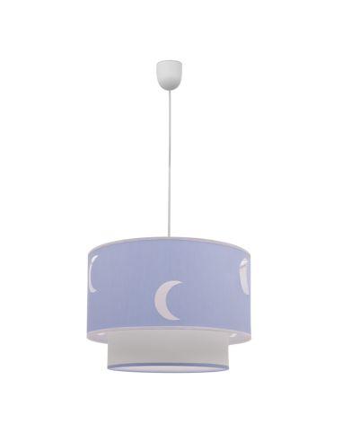 Lámpara Colgante de Techo Redonda de suspensión color celeste azul claro textil orbita 1XE27 Lunas   LeonLeds