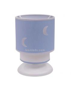 Lámpara de Sobremesa Infantil Orbita Celeste 1Xe14 Lunas Blanca y Azul Redonda Juvenil de mesa de noche | LeonLeds