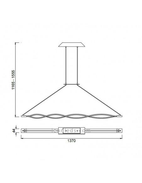 Lámpara de Techo Colgante regulable en altura LED Sáhara con acabado Forja y diseño moderno 5801 Grande 42W   LeonLeds