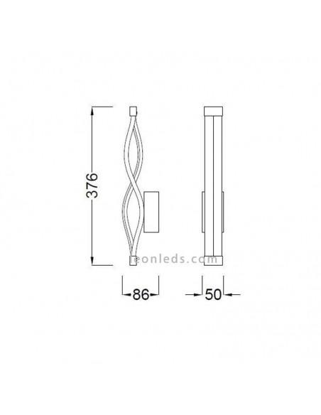 Aplique de Pared LED 6w 3000k Diseño acabado Forja Negra Mate 5816 Sáhara de Mantra Dimmable Intensidad Regulable  LeonLeds