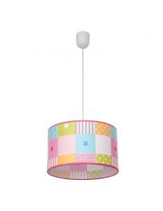 Lámpara de Techo redonda Infantil Colgante Regulable en altura serie Plus de cuadrados de colores Rosa 1Xe27  077493037 estrella