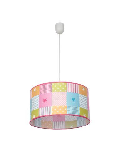 Lámpara de Techo redonda Infantil Colgante Regulable en altura serie Plus de cuadrados de colores Rosa Grande 1Xe27   077493537