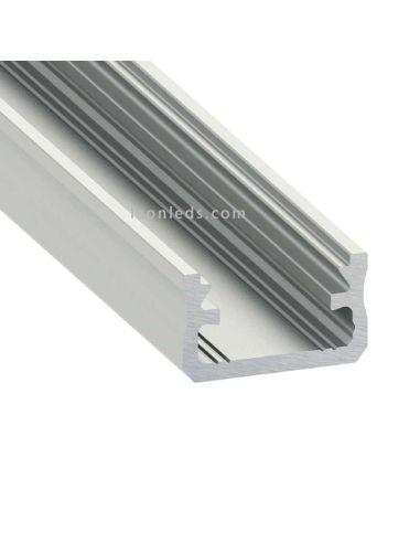 Perfil para Tira de  LED para Iluminación Decorativa en mobiliario y acabados interiores color bruto sujetar con tornillos cinta