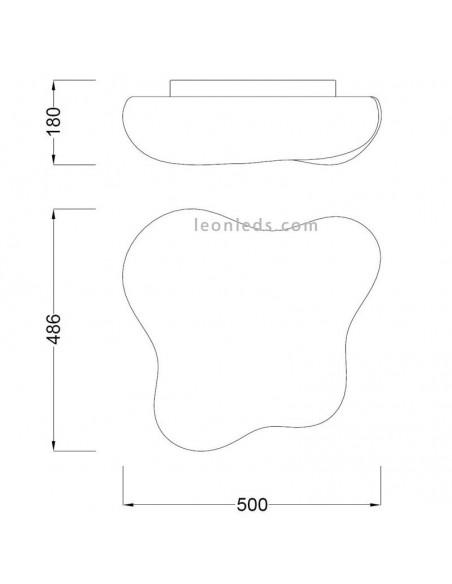 Plafón de Techo serie EOS de Mantra  para 4 Bombillas Moderno Difusor polietileno 1881 Mediano | LeonLeds