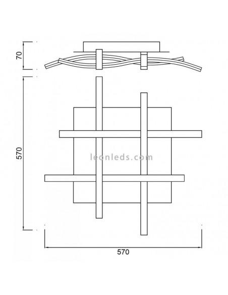 Plafón de Techo LED Serie Nur 34W 3000k 4984 4999 Dimmable Intensidad Regulable Cromo Plata Cuadrado Diseño | LeonLeds