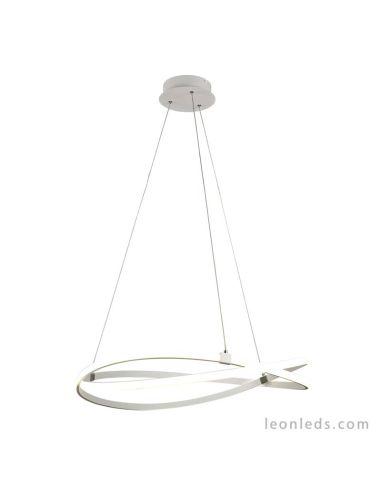 Lámpara de Techo LED 5991 Grande moderna colgante redonda 60w regulable en altura 2800K Metal blanco Difusor Acrilico serie Infi