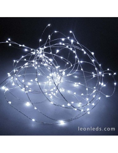 Guirnalda Alambre 100 Leds Luz Blanca -10Metros- Uso Interior   LeonLeds