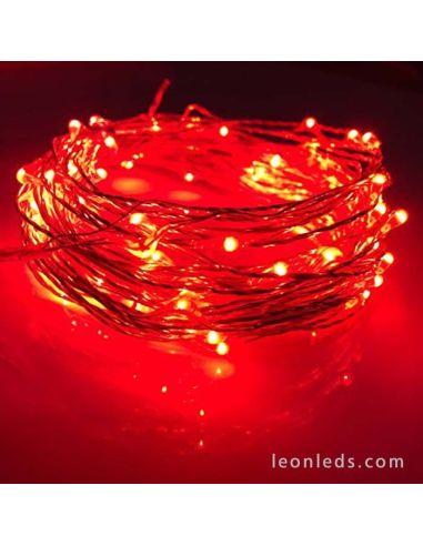 Guirnalda Alambre 100 Leds Luz Roja -10Metros- Uso Interior | LeonLeds