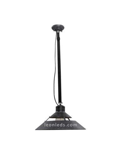 Lámpara Colgante de Techo regulable en altura 5440 acabado negro oxído retro vintage 1XE27 serie Industrial   LeonLeds