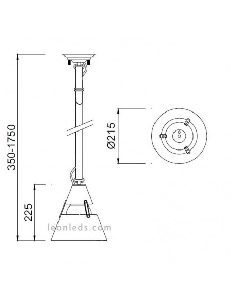 Lámpara Colgante Industrial Pequeña Metal Óxido negra 1XE27 5442 correa textil  negra | LeonLeds