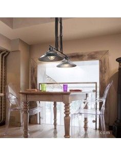 Lámpara colgante de techo con doble pantalla regulable en altura metal óxidado 5443 2XE27 Metal óxidado negro| LeonLeds