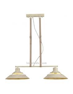 Lámpara colgante de techo con doble pantalla regulable en altura metalica 5433 2XE27 Metal arena | LeonLeds