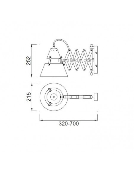 Lámpara Aplique Extensible diseño retro vintage acabado metal óxido 2XE27 serie Industrial 5443 | LeonLeds