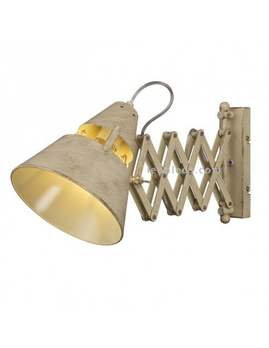 Lámpara Aplique Extensible correa textil diseño retro vintage acabado metal Beige 2XE27 serie Industrial 5433   LeonLeds