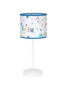 Lámpara de Sobremesa Universo 1XE14 redonda fondo blanco bordes azules | LeonLeds Iluminación