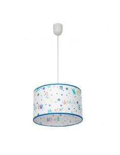 Lámpara de Techo Infantil serie Universo Redonda 30Cm fondo blanco bordes azules mediana 30Cm | LeonLeds