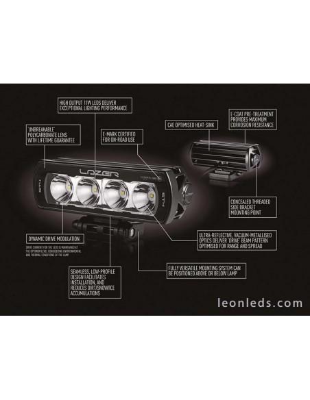 Barra de LED Lazer Lamps ST4 Evolution Homologada para Vehículos 4X4 y Camiones 43Watios de potencia Negra | LeonLeds