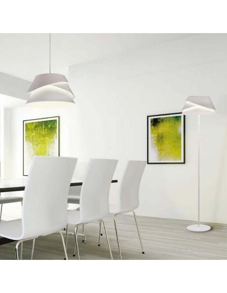 Lámpara Colgante Mediana serie Alboran blanca metalica regulable en altura diseño moderno efecto led de mantra 5862 | LeonLeds