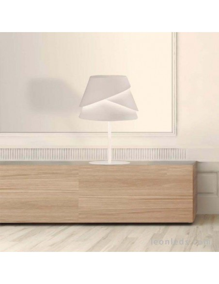 Lámpara de Sobremesa Alborán Blanca 1XE27 5863 redonda de diseño moderno metalica | LeonLeds