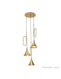 Lámpara de techo Dorada Jazz colgante Jazz 3L Oro 3 alturas estilo vintage | LeonLeds