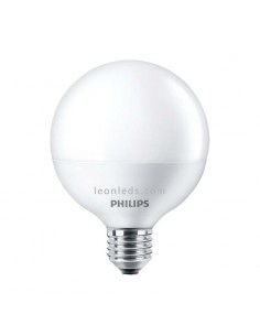Bombilla LED Philips G95 Globo 9w 2700K luz cálida blanco mate equivalente a 60w | LeonLeds Iluminacion
