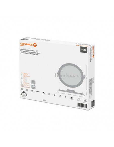 Downlight LED DN210 empotrable LED Osram LedVance Redondo 18W 6500K blanco mate | LeonLeds