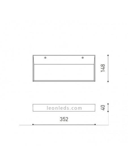 Aplique de Pared Led Rec Negro 37.5W -ArkosLight- regulables | LeonLeds