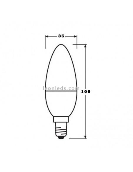 Osram Parathom Classic B E14 Vela 5.7W 827 Cálida Mate Equivalente 40W Bombilla LED de Vela | LeonLeds Iluminación