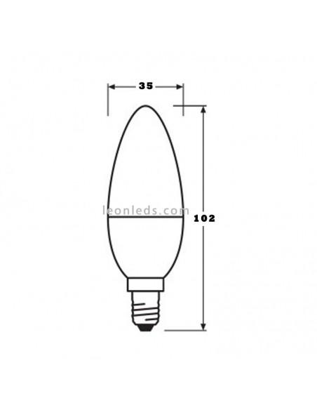Osram Parathom Classic B E14 Vela 5.5W Regulable Equivalente 40W Bombilla LED Vela | LeonLeds Iluminación