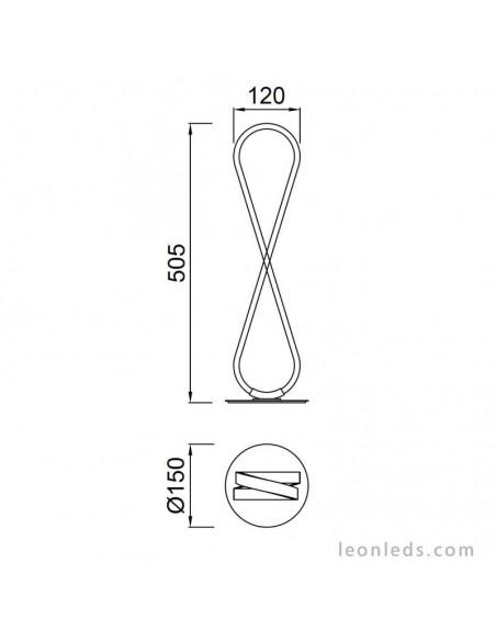 Lámpara de Sobremesa LED de estilo moderno en color plata y cromo en forma de lazo de la serie Bucle 5984 | LeonLeds.com